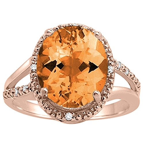Shaped Citrine Oval Ring (Oval Shaped Citrine and Diamond Ring in 10K Rose Gold)