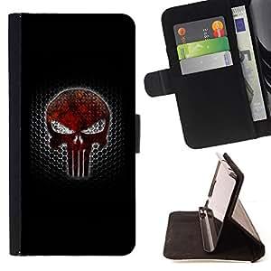 BullDog Case - FOR/LG G2 D800 / - / PUNISH SKULL /- Monedero de cuero de la PU Llevar cubierta de la caja con el ID Credit Card Slots Flip funda de cuer