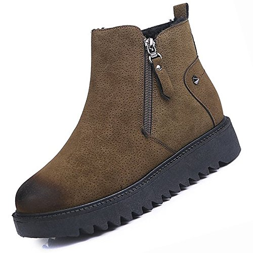 ZHZNVX HSXZ Zapatos de Mujer Moda Invierno PU Botas Botas Planas Botas de Tacón Puntera Redonda Mid-Calf for Casual Negro Marrón, Marrón,US8/UE39/UK6/CN39