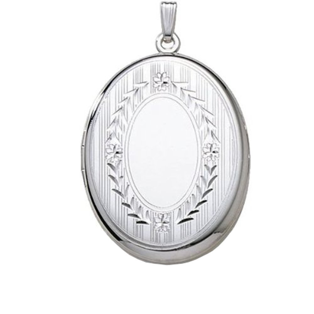 Extra LARGE Sterling Silver Oval Locket 1-1/4 Inch X 1-1/2 Inch w / engraving