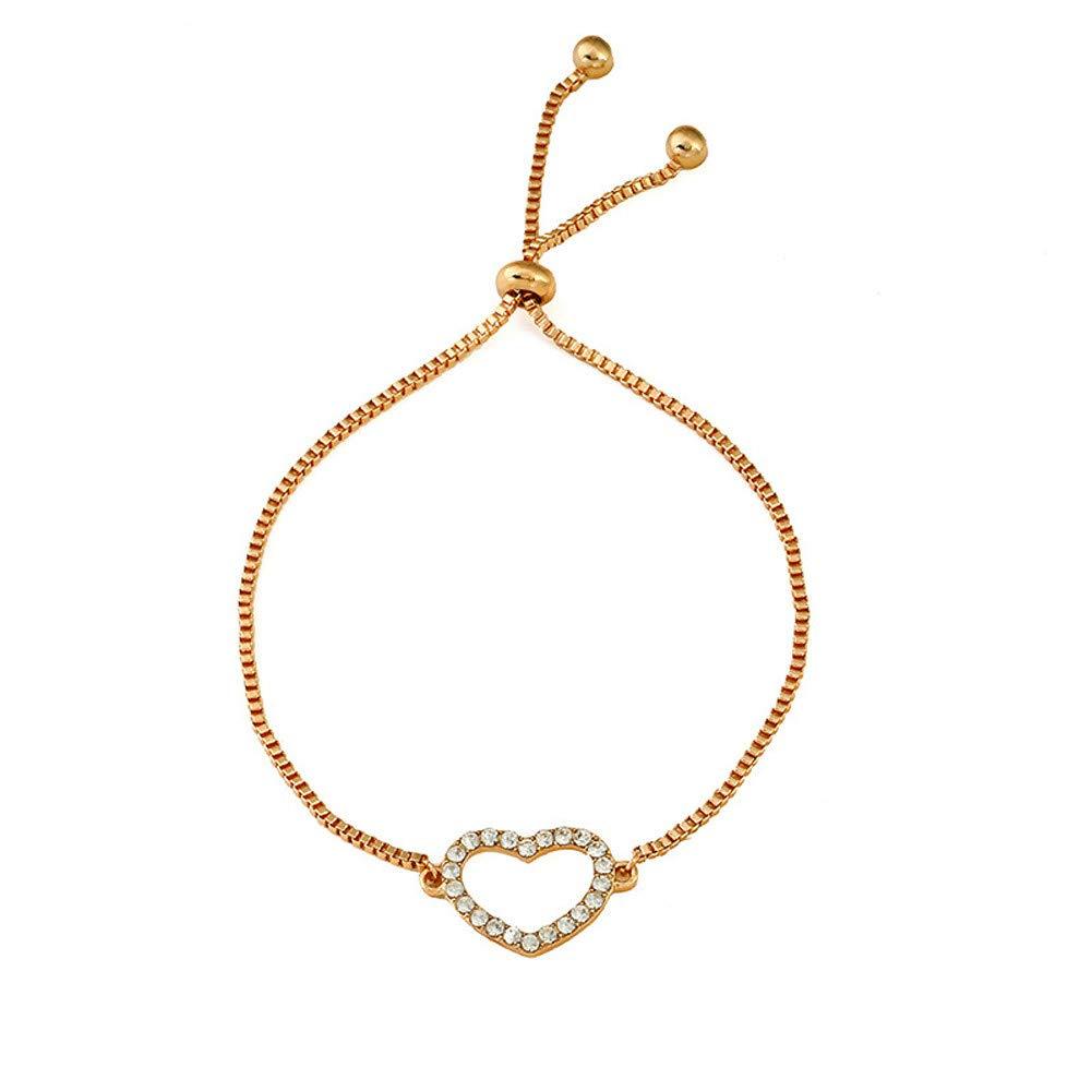 Dream_Mimi Gold Plated Adjustable Chain Bracelets Women/Girls Fashion Jewelry, for Love, Anniversary, Brithday, Valentine's Day,Women's Day