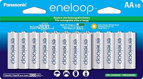 Panasonic BK-3MCCA16FA eneloop AA 2100 Cycle Ni-MH Pre-Charged Rechargeable Batteries, (package deal comprises 16AA blue or 16AA white)