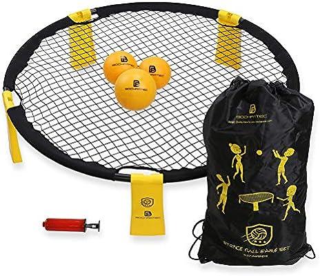B BOCHAMTEC Strikeball juego de 3 pelotas, incluye red de jugar, 3 bolas, bolsa de transporte, libro de reglas, juego para niños, niñas, adolescentes, adultos, familia (amarillo)..., Amarillo: Amazon.es: Deportes y aire