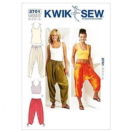 Kwik Sew Ladies Sewing Pattern 3701 Harem Pants & Vest Tops: Amazon ...