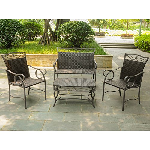Valencia Resin - Set of 4 Valencia Resin Wicker/Steel Settee Group