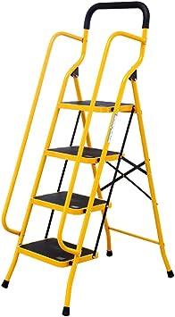 Escaleras Escalera de la banda de rodadura de 4 pasos, escalera plegable portátil con pasamanos de