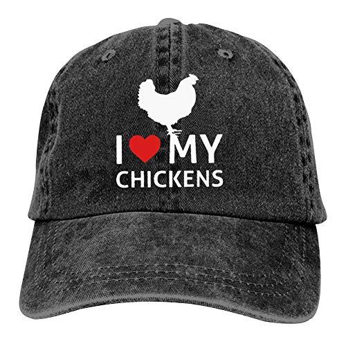 MOSDELU I Love My Chickens Baseball Cap Adjustable Denim Trucker Cap Jeans Caps for Adult Black]()