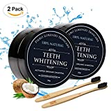 Natural Teeth Whitening Powder 2 Packs - Coconut Activated Charcoal - Effective Teeth Whitener + 2 Packs Bamboo Toothbrush