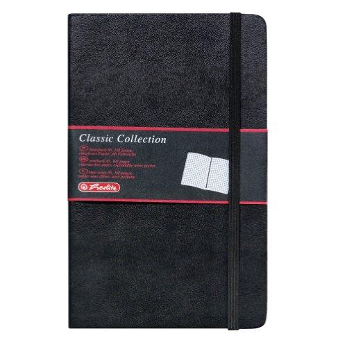 Herlitz 10789428 Geschäftsbuch, Lederoptik, schwarz, kariert, A5, 96 Blatt,Inhaltspapier 80g/m² Notizbuch Classic Collection