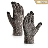 TRENDOUX Winter Gloves, Knit Touch Screen Glove Men Women Texting Smartphone Driving - Anti-Slip - Elastic Cuff - Thermal Soft Wool Lining - Hands Warm in Cold Weather - Coffee and White - M