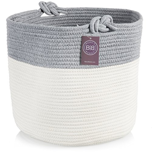 Bijoux Basics Cute Round Woven Cotton Rope Basket with Handles: Large Basket for Nursery / Laundry / Towel / Diaper / Kids Toy Storage/Organizer for Baby Boys or Girls Room; 15.5
