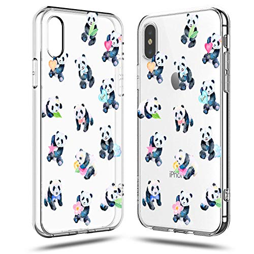 iPhone Xs Max Case,Girls Women Panda Baby Cute Funny Animal Cartoon Amusing Whimsical Floral Flowers Case for Teen Girls Women Kids Design Clear Soft Protective Case Compatible for iPhone Xs - Baby Cherries Pink