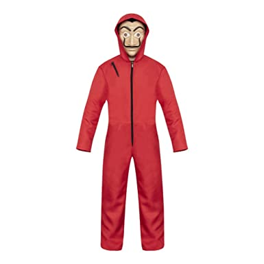 Moniku Salvador Dali La Casa De Papel Cosplay Movie Red Coverall Halloween Costume (Small)