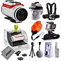 TomTom Bandit 4K Action Camera with Headstrap + Chest Harness Mount + Wrist Glove Strap + Floaty Bobber + Mini Tripod + Cleaning Kit