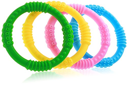 (Teether Rings - (4 Pack) Silicone Sensory Teething Rings - Fun, Colorful and BPA-Free Teething Toys - Soothing Pain Relief and Drool Proof Teether Ring (Unisex))