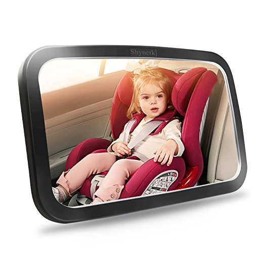 (Shynerk Baby Car Mirror, Safety Car Seat Mirror for Rear Facing Infant with Wide Crystal Clear View, Shatterproof, Fully Assembled, Crash Tested and Certified)