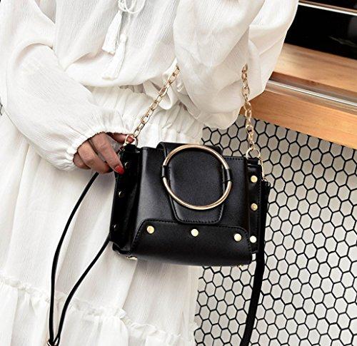 Messenger de las bolsa mujeres manera la asas cuero bolso Black La de Bag genuino de de RwTOnWqB