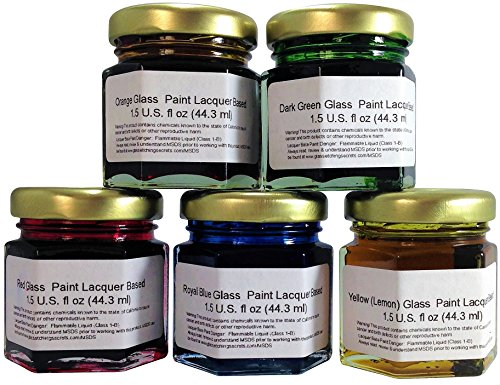 Glass Paint Lacquer Stain Sample Kit, 5 Pack, 1.5-ounce Professional, Permanent Stained Glass (Glass Etching Paint)
