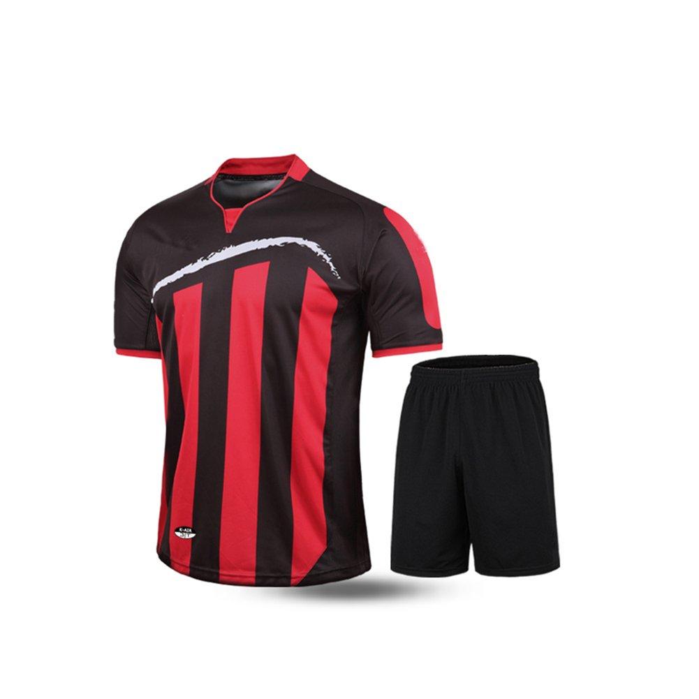 Kelme半袖サッカースポーツストライプUniform B01ELABVZW Medium|ブラック/レッド ブラック/レッド Medium
