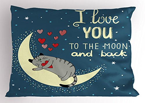 I Love You Pillow Sham by Ambesonne, Sleepy Cat Holding Hear