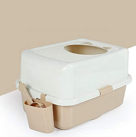 Daeou Animal-WC Cabeza de Gato de la Cuenca de Gatos Cerrada Malla de Agujero Superior de Entrada Respirable Gato WC Cat camada Cuenca Enviar Gato Grano ...