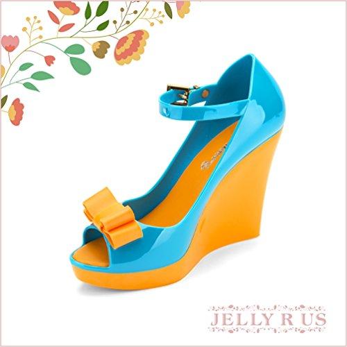 Chemistry® B812 Donna Peep Toe Tacco Alto Cinturino Alla Caviglia Con Zeppa Alta Piattaforma Zeppa Scarpe Sandalo Arancione Blu Blu Arancione