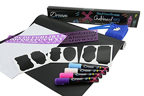 Price comparison product image Chalkboard Contact Paper - 100 inch long adhesive vinyl with 4 chalk markers, 40 stickers, Letter Stencil, extra reversible tips, wipe cloth and a white A4 contact paper, all included in the box