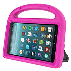Kids Case for Kindle Fire 7 2017, MENZO Light Weight Shockproof Silicone Handle Stand Kids Friendly Case for Fire 7 inch (2017 released), Rose