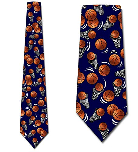 Basketball Ties Mens Navy Sports Basket Ball Neckties by Three Rooker ()