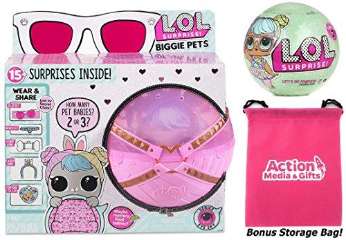 Lol Surprise Biggie Pets Bundle Includes  1  Hop Hop    1  Lets Be Friends  Series 2 Doll    5  Shopkins Glitter Stickers   Bonus Action Media Storage Bag