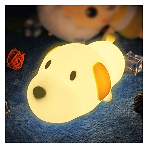 Cheap LED Night Light for Kids ,Soft Silicone Puppy LED Lamp with Sensitive Touch Control, Baby Nursery Lamp with Warm/Cool White Dual Modes-USB Rechargeable,Brightness Adjustable, Timing Function