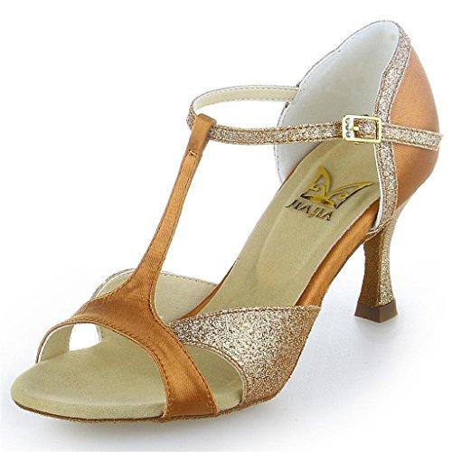 Jia Damen 2055 Tan Glitter Super Ausgestelltes Tanzschuhe Jia mit Sandalen Heel funkelnden Latein Satin aqr1aE