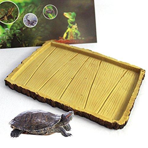 Mokook Reptile Water Dish for Amphibian Tortoise Turtle Gecko Snake Lizard Iguana Frog Water Food Feeding, 7.28x5.5x0.59 inch(LWH) (Tortoise Dish)