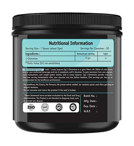 Glutamine Powder 250gm-Unflavoured -50 servings