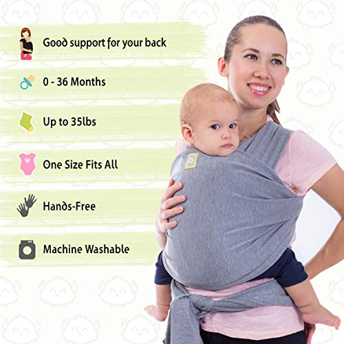 Baby Wrap Carrier All-in-1 Stretchy Baby Wraps – Baby Carrier – Infant Carrier – Baby Wrap – Hands Free Babies Carrier Wraps – Baby Shower Gift – One Size Fits All (Classic Gray)