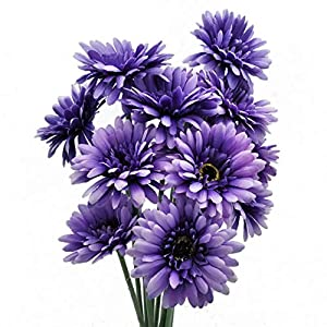 cn-Knight Artificial Flower 12pcs 22'' Long Stem Silk Daisy Faux Mums Flower Chrysanth Gerbera for Wedding Bridal Bouquet Bridesmaid Home Decor Office Baby Shower Prom Centerpiece(Purple) 89