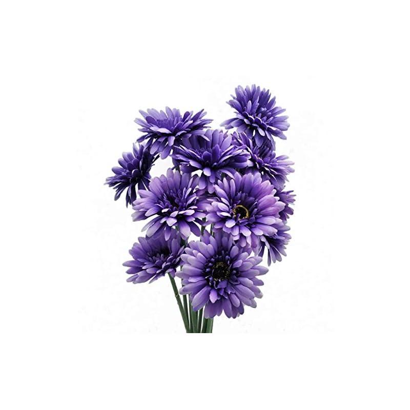 silk flower arrangements cn-knight artificial flower 12pcs 22'' long stem silk daisy faux mums flower chrysanth gerbera for wedding bridal bouquet bridesmaid home decor office baby shower prom centerpiece(purple)