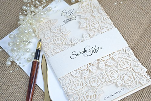 50 Personalised Laser cut Wedding Invitations with envelopes L3 by FoxfordAtelier