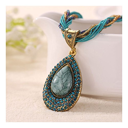 [Signore-Signori Turquoise Retro Droplet Statement Necklace Handmade Costume Fashion Jewellery Gift] (Womens Boxing Costumes)