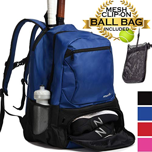 Athletico Premier Tennis Backpack - Tennis Bag Holds 2 Rackets in Padded Compartment | Separate Ventilated Shoe Compartment | Tennis Bags for Men or Women (Blue)