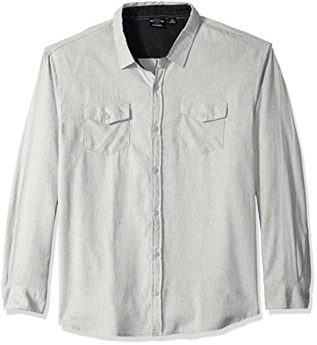 (Burnside Men's Cater 2 Long Sleeve Button Down Solid Flannel Shirt, Stone,)