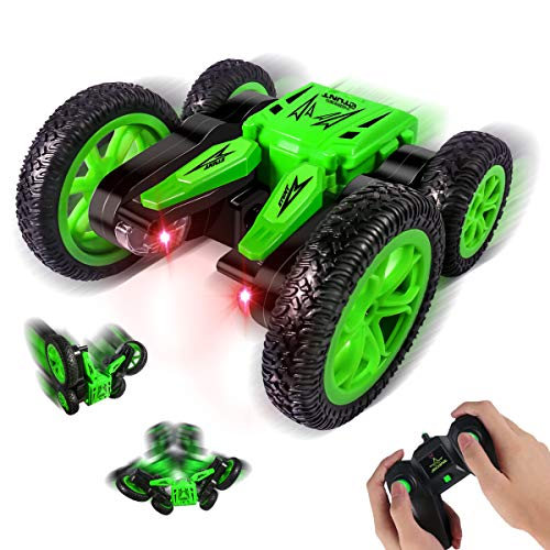 HALOFUN RC Cars Stunt Car Toy, 4WD 2.4Ghz Remote Control Car Double Sided Rotating Vehicles 360° Flips, Green RC Cars…