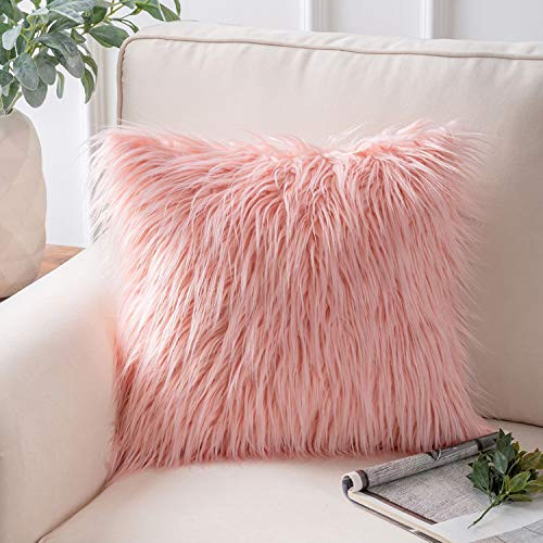 Phantoscope Luxury Series Throw Pillow Covers Faux Fur Mongolian Style Plush Cushion Case for Couch Bed and Chair, Pink 18 x 18 inches 45 x 45 cm (Bedroom Tween Girl)