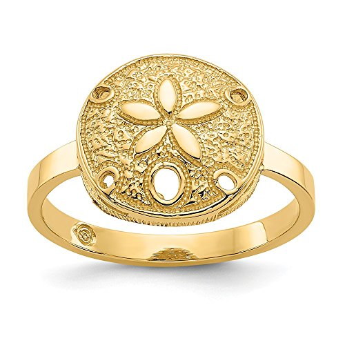 Jewel Tie Size 9-14k Yellow Gold Polished Sand Dollar Ring (2mm)