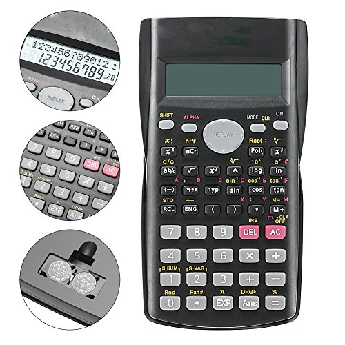 VANPOWER Scientific Calculator 82MS Item Numbers with Anti-Scratch Cover Engineering Calculator Desktop Calculator Best for Student--Black