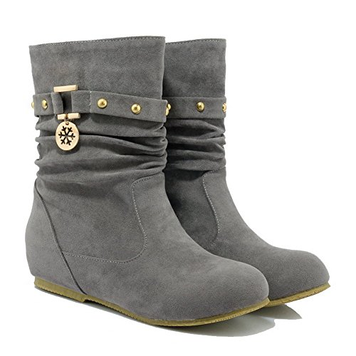 AllhqFashion Womens Frosted Pull-on Round Closed Toe Low-Heels Low-top Boots Gray fFPG5PW0E