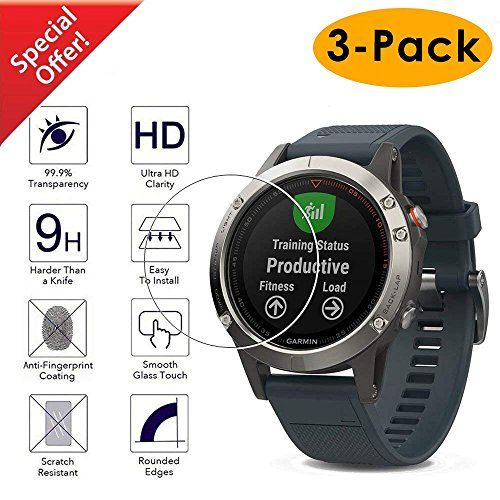 Kimilar Compatible Garmin Fenix 5 Smart Watch Screen Protector [3-Packs], Full Coverage Tempered Glass Screen Protector, [9H Hardness] [Ultra High Definition] [Scratch Resist] [No-Bubble]