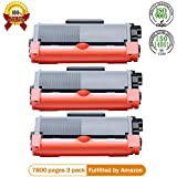 TN660 TN630 Toner Cartridge 3 Pack Black Replacement for Brother High YieldUp To 2,600 Pages