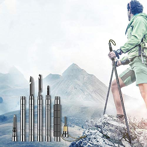 LYZCY Trekking Poles Multifunctional Trekking Poles Aluminum Walking Poles Hiking Self-Defense Rod Mountain Outdoor Lightweight Walking Poles Quick Lock Trekking Poles Ergonomic Grip