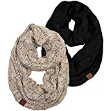 S1-2-6706 Infinity Scarf Bundle - 1 Confetti Oatmeal, 1 Solid Black (2 PACK)